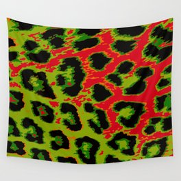 Red and Apple Green Leopard Spots Wall Tapestry