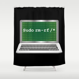 Sudo rm | Linux Coding Terminal Shower Curtain