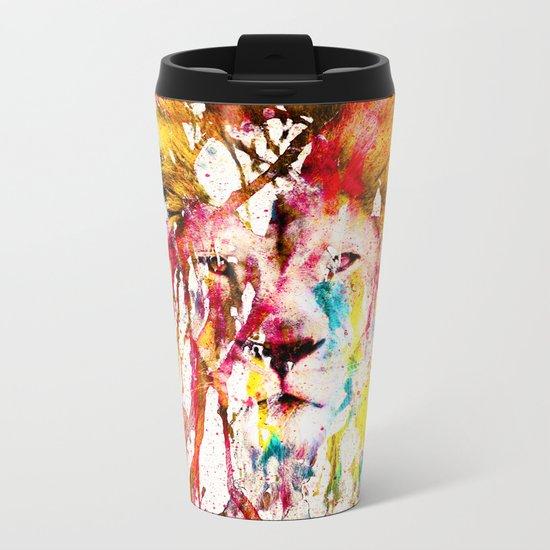 Wild Lion Sketch Abstract Watercolor Splatters Metal Travel Mug