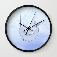 narwhal Wall Clocks featuring Narwhal by Holly Nekonam
