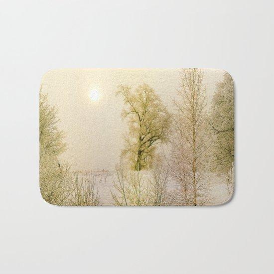 Golden Winter Forest Bath Mat