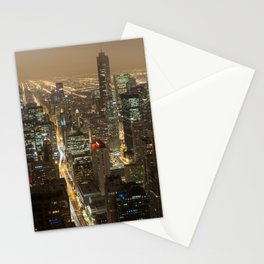 Chicago Skyline Nightshot Stationery Cards