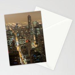 Chicago Skyline Nightshot Stationery Cards