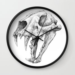 Dinictis, The 'False Sabertooth Cat' skull | Graphite Pencil Art Wall Clock
