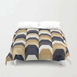Stacks of Gold and Navy Duvet Cover