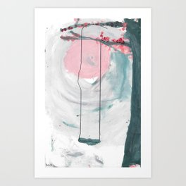 Swing in the Flower Tree Art Print