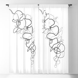 Orchid Flower Line Drawing Blackout Curtain