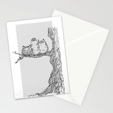 Three owls in a tree Stationery Cards