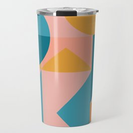 Colorful Geometric Abstraction in Blue and Orange Travel Mug