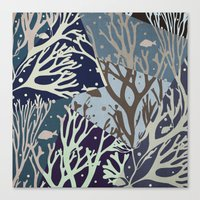 under the sea Canvas Prints featuring Under the Sea - Abstract by Paula Belle Flores
