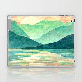Spring Sunset over Emerald Mountain Landscape Painting Laptop & iPad Skin