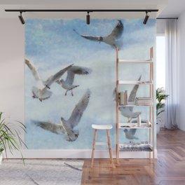 Gulls In Flight Watercolor Wall Mural