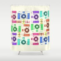 vintage camera Shower Curtains featuring CAMERA by Laura Maria Designs