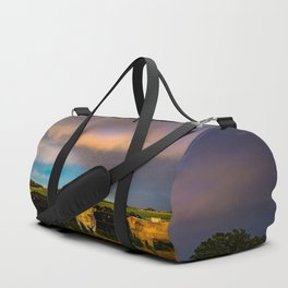 Bovine Shine - Cattle Gather on Stormy Day in Kansas Duffle Bag