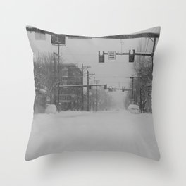 Snow Storm in Downtown - One Way Throw Pillow