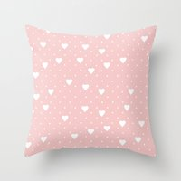 Pin Point Hearts Blush Throw Pillow
