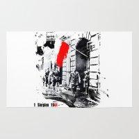 poland Area & Throw Rugs featuring Warsaw Uprising, Poland - 1944 by viva la revolucion