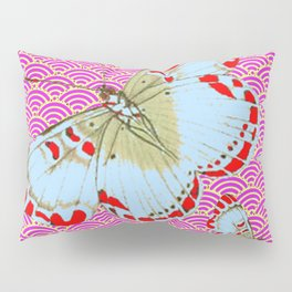 ORIGINAL ORIENTAL STYLE RED-WHITE EXOTIC BUTTERFLY PINK ART Pillow Sham