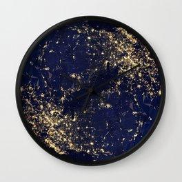 Gold Map abstraction Wall Clock