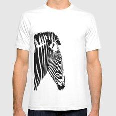 Zebra Portrait MEDIUM White Mens Fitted Tee