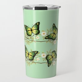 Four green butterflies Travel Mug