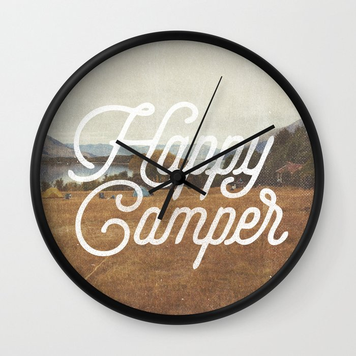 Happy Camper Wall Clock by Cabin Supply Co - Black - Black