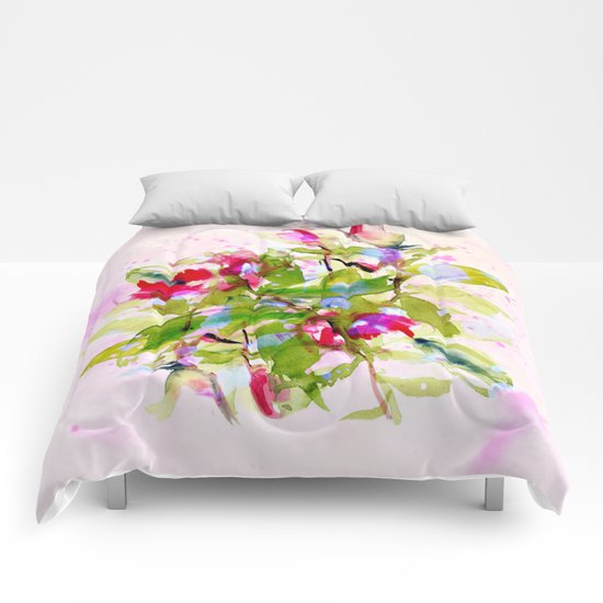 watercolors abstract bouquet Comforters