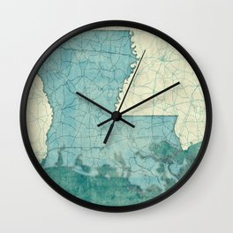 Louisiana State Map Blue Vintage Wall Clock