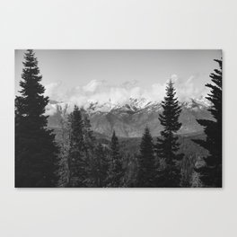 Snow Capped Sierras - Black and White Nature Photography Canvas Print