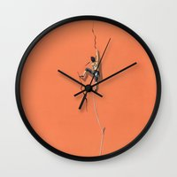 climbing Wall Clocks featuring Climbing: Solitude by Brian DeYoung Illustration