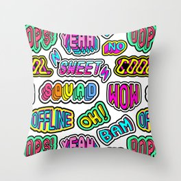 """Oh"", ""Bam"", ""Offline"", ""Oops"", ""Squad"", ""Yeah"" pattern. Throw Pillow"