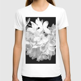 """Hydrangea """"SnowBall"""" In Black And White T-shirt"""