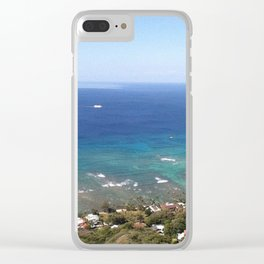 View of the Pacific from atop Diamond Head Clear iPhone Case