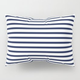 Navy Blue Breton Nautical Stripes Lines Minimal Stripe Line Pillow Sham