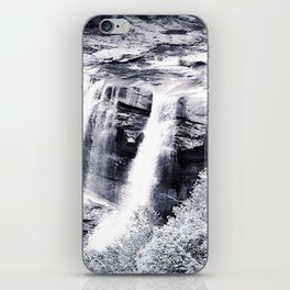 West Virginia Blackwater Falls Black and White iPhone Skin