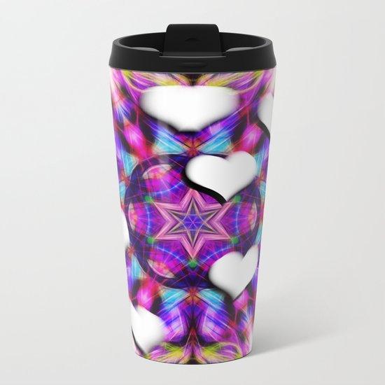 Floating hearts on abstract vibrant kaleidoscope Metal Travel Mug