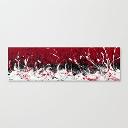 Groove In The Fire - Black and red abstract splash painting by Rasko Canvas Print