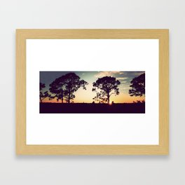 Panorama Sunset with Cypress Trees Framed Art Print