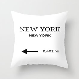 This Way To New York Typography Throw Pillow