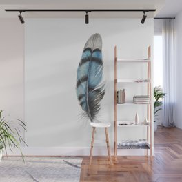 Blue Jay Feather | Watercolour Painting Wall Mural