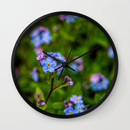 Forget-me-nots In The Rain Wall Clock