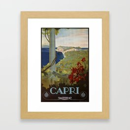 Isle of Capri Italian travel ad Framed Art Print