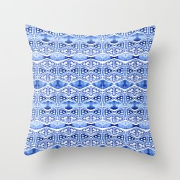 Watercolor blue indigo triangles Throw Pillow