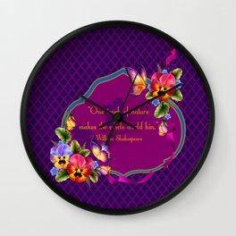 Arabian Quatrefoil Pansies Wall Clock