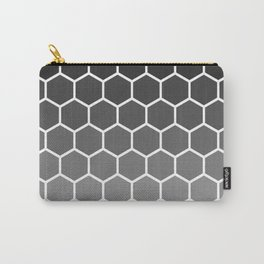 Black and gray gradient honey comb pattern Carry-All Pouch