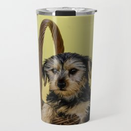 Hooper the Yorkie in his Thanksgiving Basket Travel Mug
