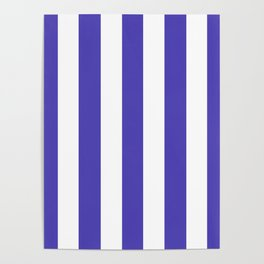 Ocean Blue - solid color - white vertical lines pattern Poster