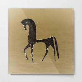 Black Horse in Desert Metal Print
