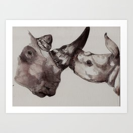 Rhino Love Art Print