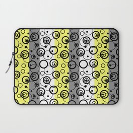 Circles and rings on striped background 2 Laptop Sleeve